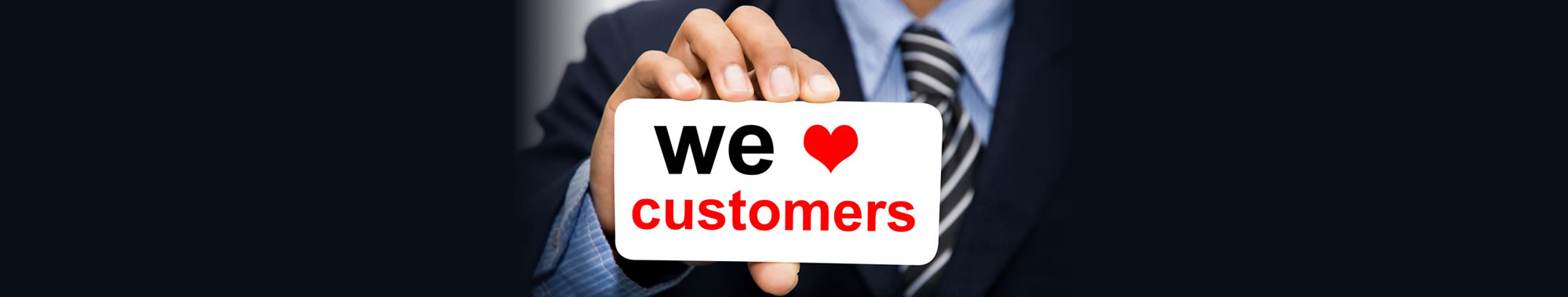 "An image with the words ""We love customers"" depicts a Refer A Client special offer."